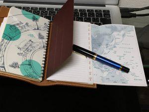 エルメス手帳レフィル付属の世界地図が素敵です。